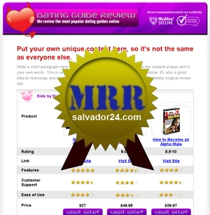 Product picture Dating Review Site with MRR (Master Resale Rights)