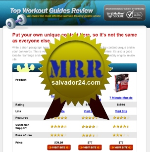 Product picture Fitness Review Site with MRR (Master Resale Rights)
