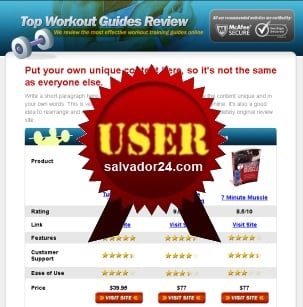 Product picture Fitness Review Site with User Right