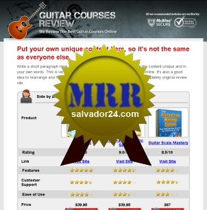 Product picture Guitar Review Site with MRR (Master Resale Rights)